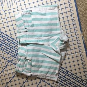 Sz 27 forever 21 turquoise & white striped shorts